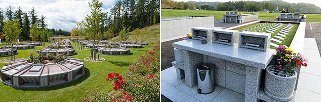 左/真駒内滝野霊園「さくらガーデン」 右/北海道中央霊園「Forever」
